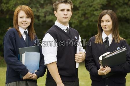 uniformed high school students