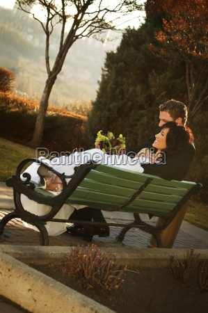 a couple on a bench in