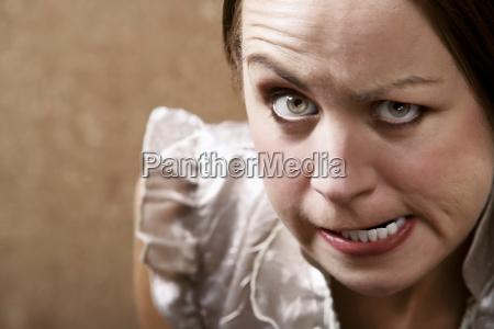 glaring young woman