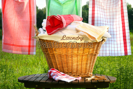 laundry, basket, on, rustic, table - 2201197