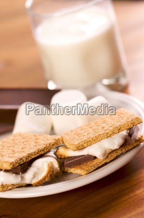 smores and milk with narrow depth