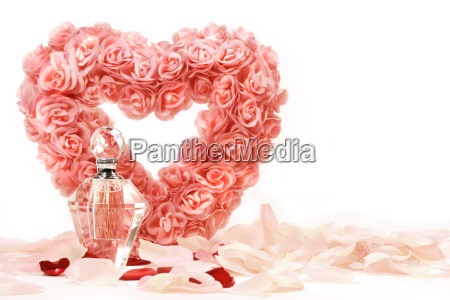 heart, of, roses, with, perfume, bottle - 2261995