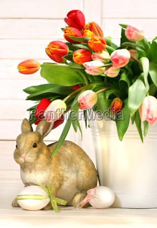 little rabbit behind white container