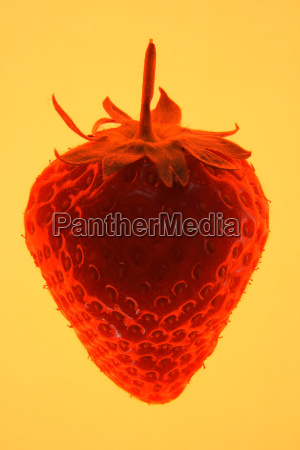 a strawberry silhouetted on a yellow