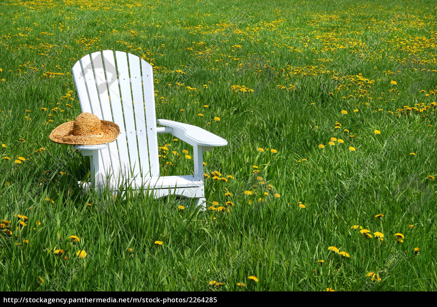 white, chair, with, straw, hat - 2264285