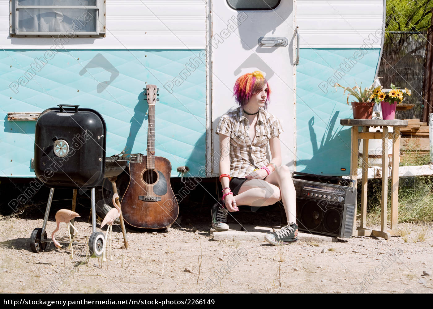 girl, sitting, on, a, trailer, step - 2266149