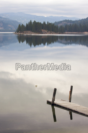 tranquil morning lake scene with beautiful