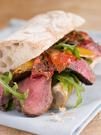 sirloin steak and roasted pepper ciabatta