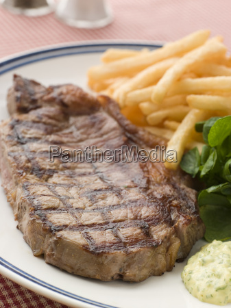 steak frite with watercress and barnaise
