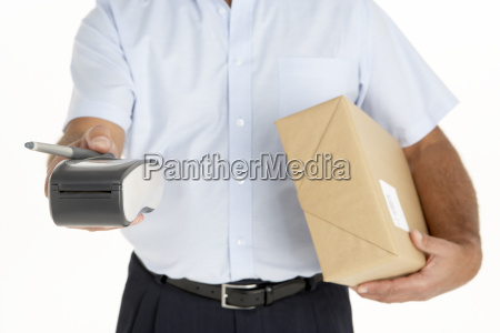 courier holding a parcel and an
