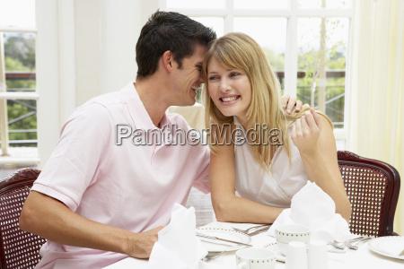 young, couple, enjoying, hotel, meal - 2328757