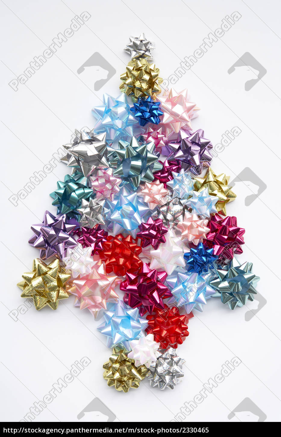 Christmas Tree Bows White.Stock Photo 2330465 Christmas Tree Made From Gift Bows Against White Background