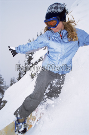 snowboarder coming down hill smiling blur