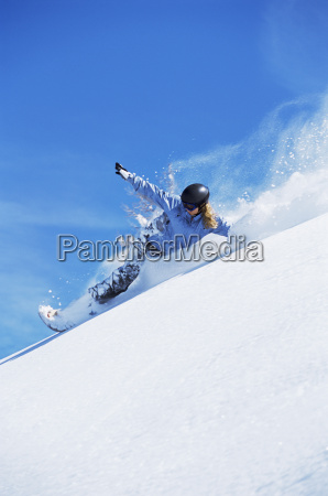 snowboarder coming down hill