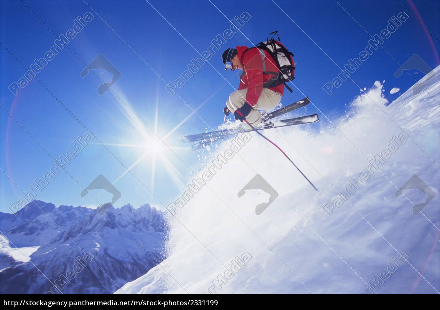 skier, jumping, on, snowy, hill, (lens - 2331199