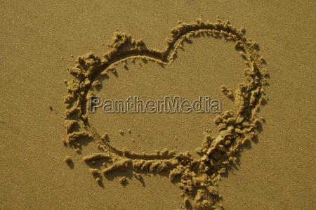 love heart on sand