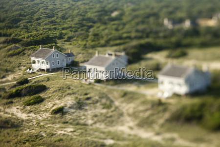 aerial of beach homes