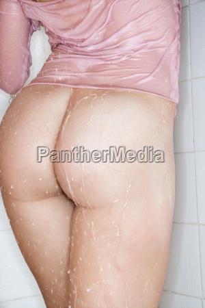 wet female buttocks