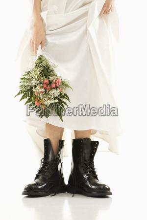 bride wearing combat boots
