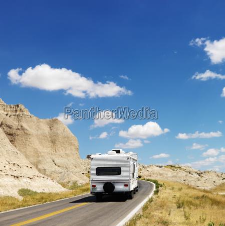 camper on scenic road