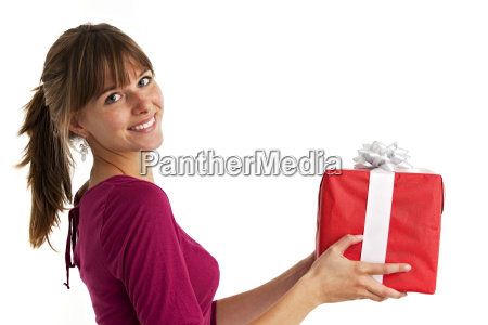 pretty young woman holding a present