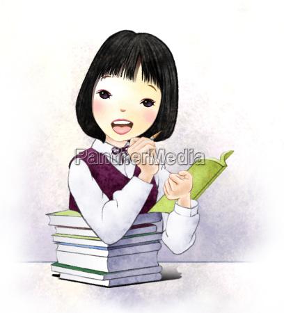 study learn effort people girl female