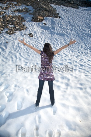 happy at snow in salamanca