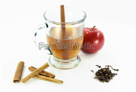 hot apple cider in glass over