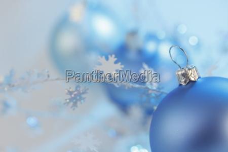 three blue baubles