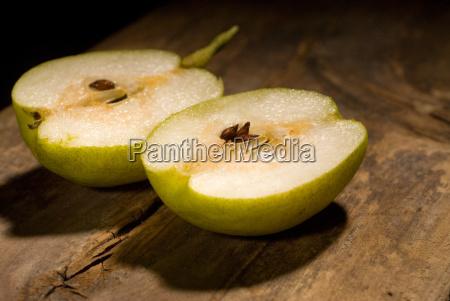 fresh pear cutted in half