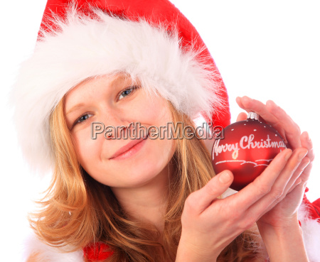 miss santa is holding a red