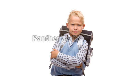 child looks angry on first schoolday