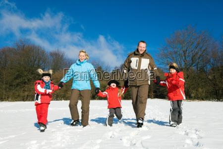 walk in the snow in family