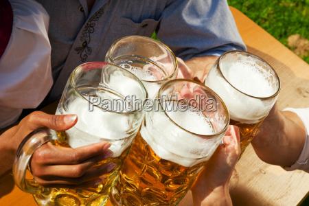 group of friends in beer garden
