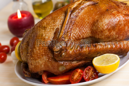 roast goose with peppers fried potatoes