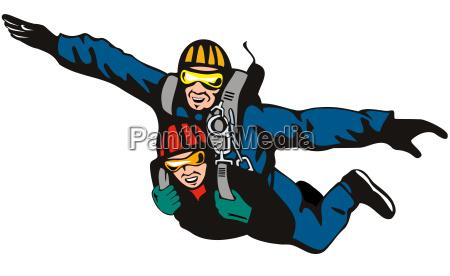 tandem sky diver diving