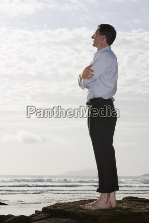 businessman relaxing at the sea