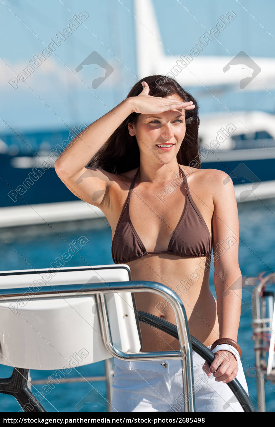 young, woman, sailing, on, yacht - 2685498
