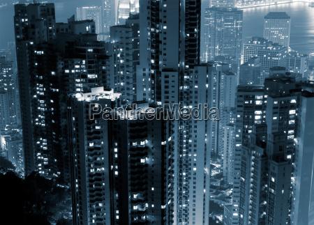 night scenes of modern skyscraper in
