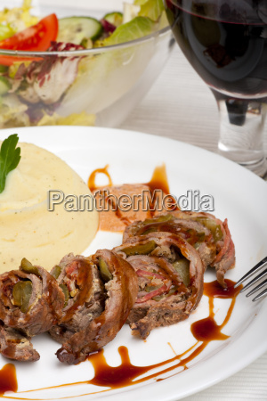slices of a roulade on a