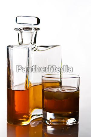 carafe of scotch whiskey or bourbon