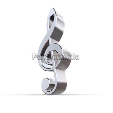shiny metal treble clef