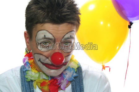 clown in front of white background