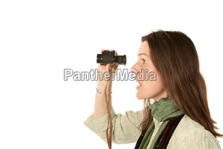 pretty woman with binoculars
