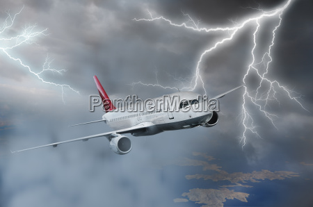 airplane flying in storm