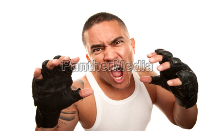 hispanic man with boxing gloves