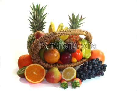 fruit basket with various fruits