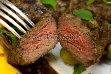 lamb medallions steak with arugula
