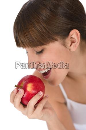 happy, teenager, eating, healthy, apple - 2804087