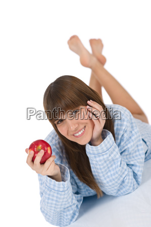 happy, teenager, holding, healthy, apple - 2804077